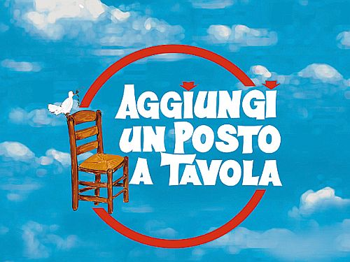 poster for Aggiungi up Posto a Tavola, showing a dove sitting on the back of a wooden chair against a blue sky