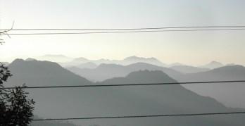 Mussoorie hills through wires