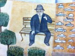 self-portrait in a mural at a Citibank office in San Francisco, a man in a blue suit and a gray hat sitting on a park bench with a cigarette in his hand