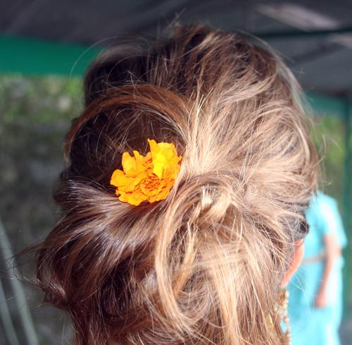 marigold in girl's hair