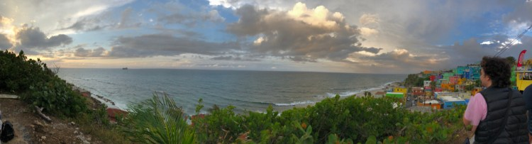 panoramic view of La Perla, looking out to sea, evening.