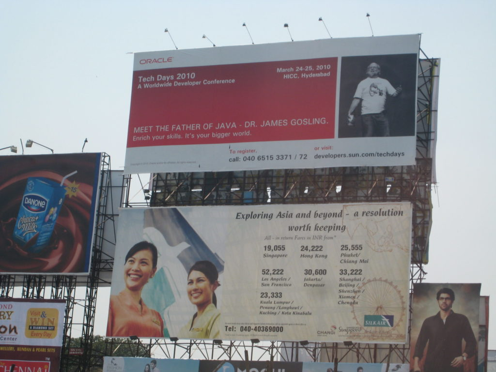 billboard in Hyderabad showing James Gosling as the featured speaker at Sun Tech Days 2010