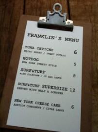 Franklin's menu