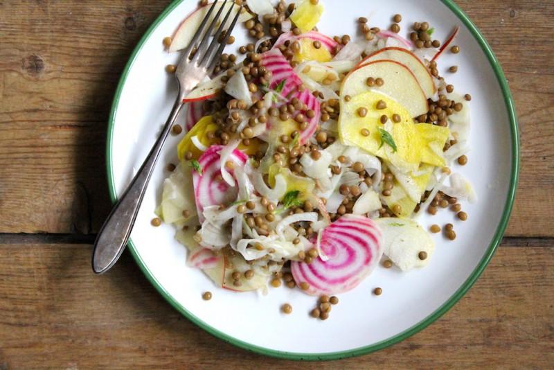 Linzensalade herfstgroenten salade