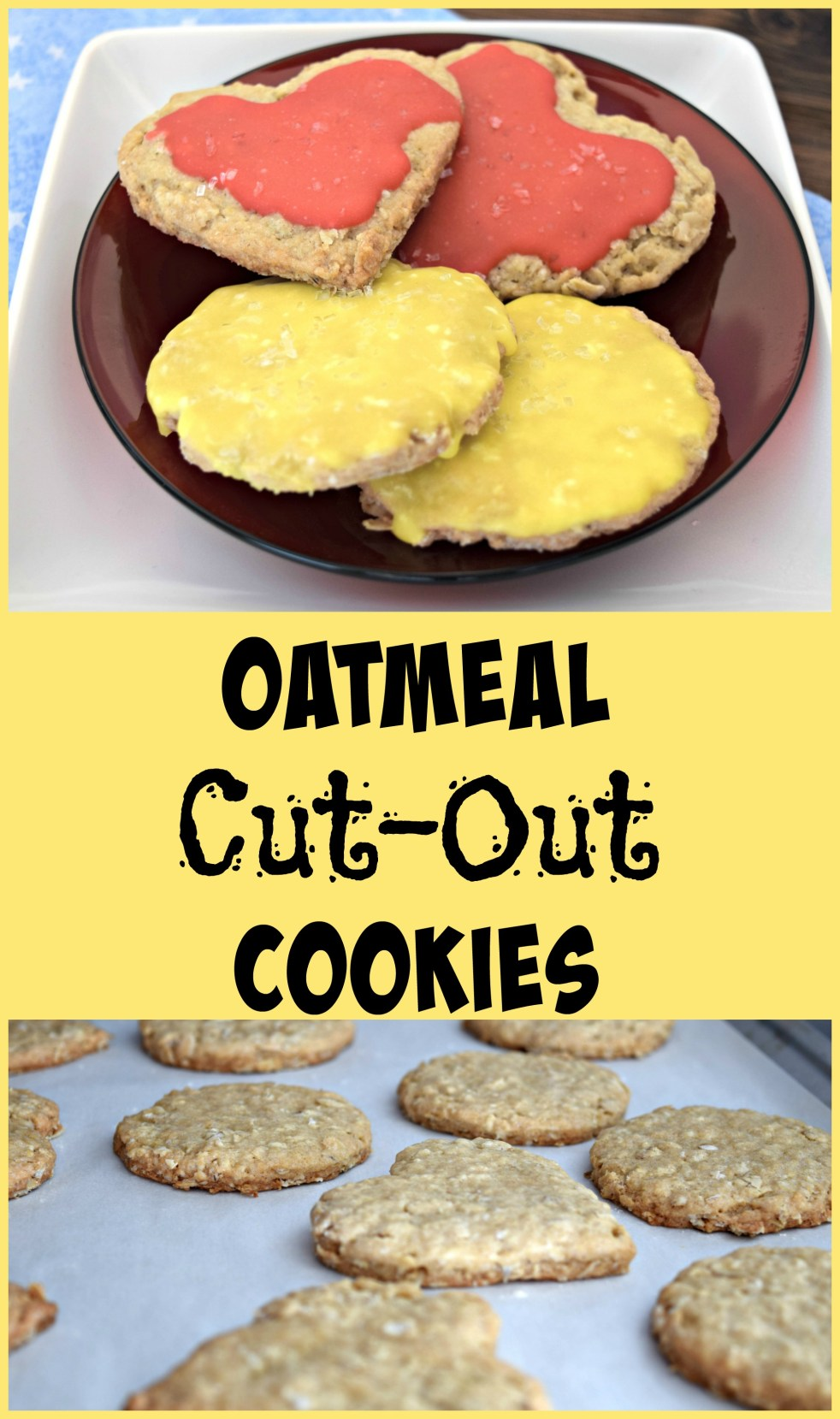 oatmeal cut out cookies with coconut glaze