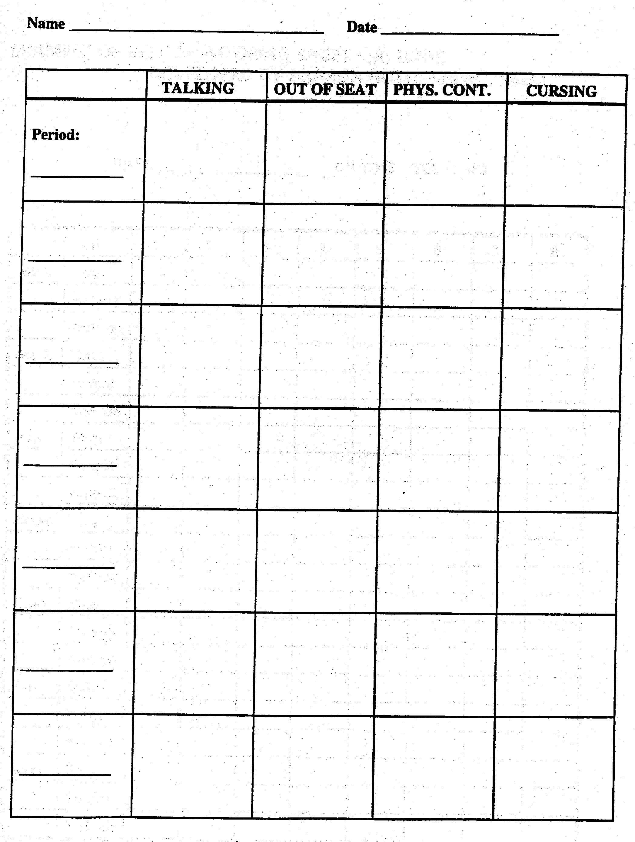 Behavior Frequency Data Sheet Printable
