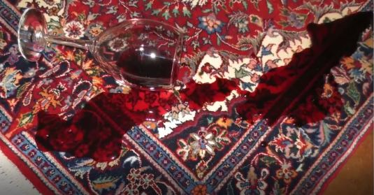 Wine spilled on rug
