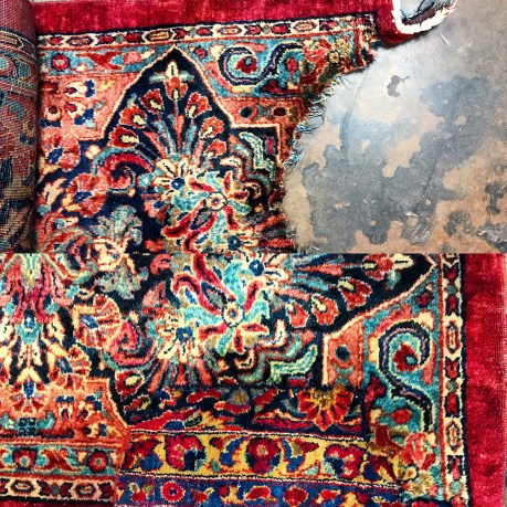 Water damaged rug before and after patching