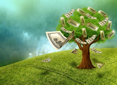 Tree with money falling off
