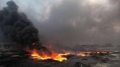 صورة العراق : داعش يحرق آبار النفط في الحويجة شمالي العراق