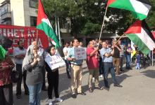 صورة تظاهرة في مالمو ضد ورشة البحرين