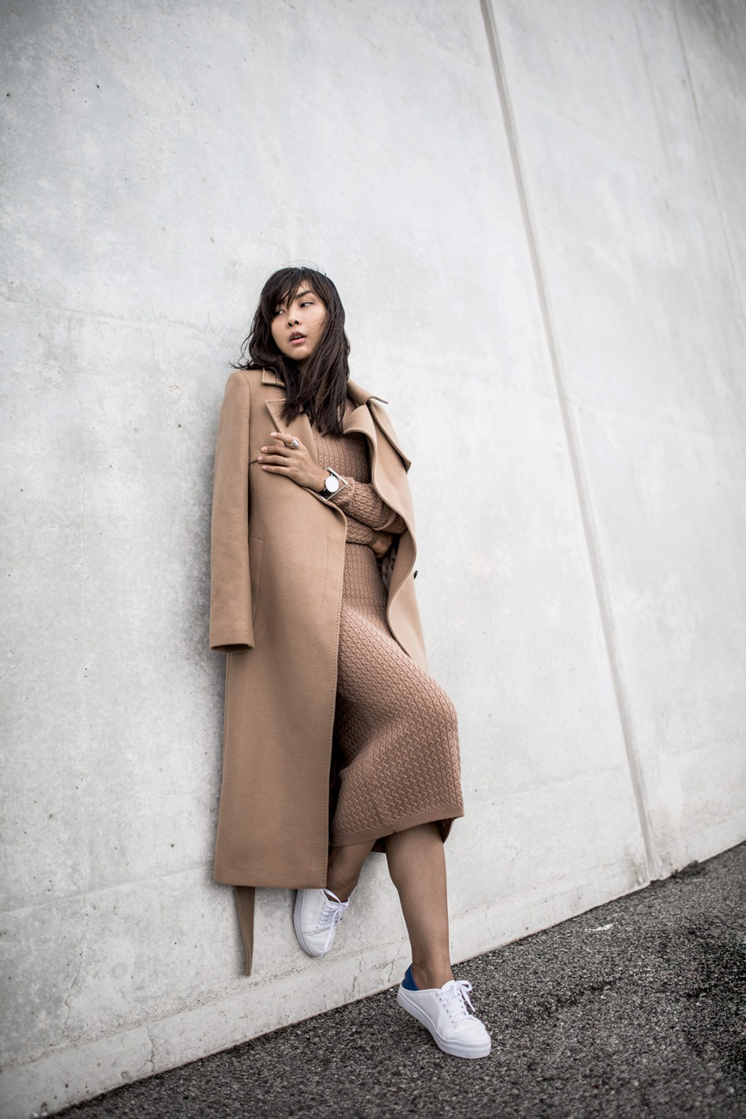 Camel Coat knit Dress Karen Millen Outfit Inspiration-19 copy