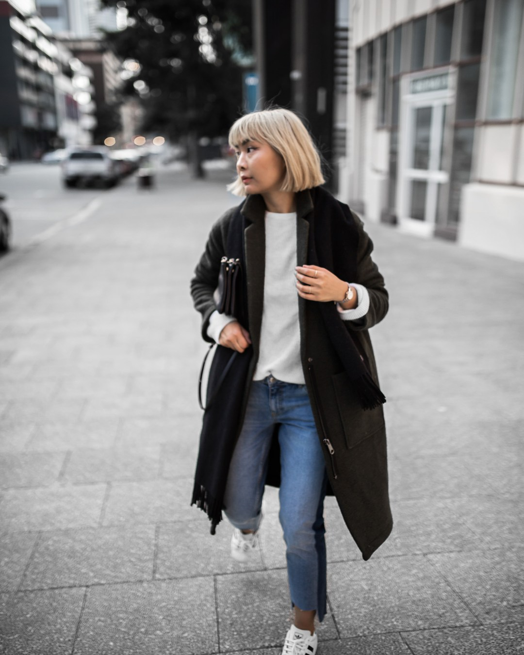acne-scarf-khaki-coat-stepped-hem-jeans-outfit-inspiration-4-copy
