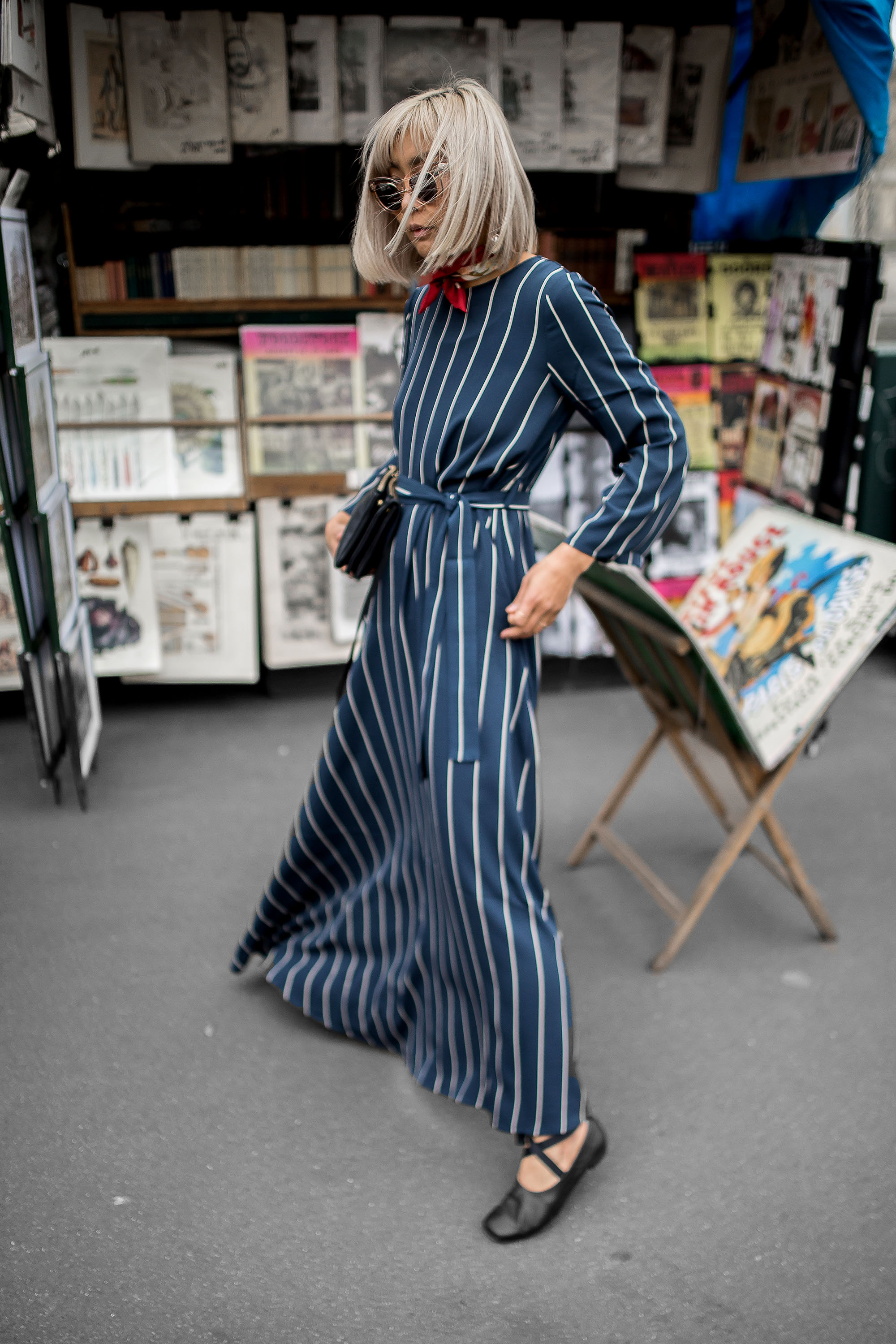 6caa88d9512 Uniqlo Hana Tajima Stripe Maxi Dress Ballerina Flat JW Anderson Earrings  Celine Sunglasses Outift Inspiration Beige Renegade-7695