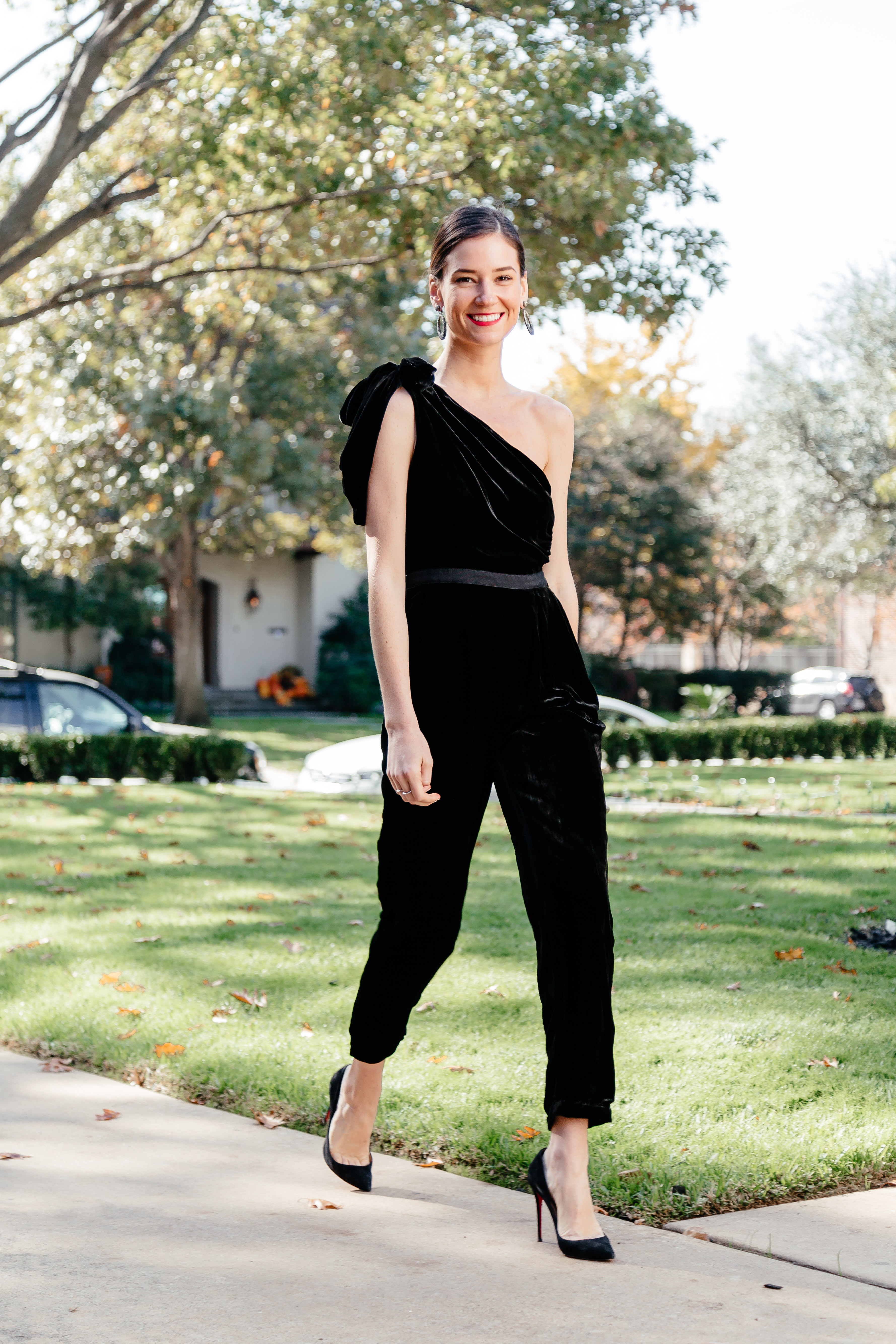 3df1b181695 The Perfect Holiday Jumpsuit. Jumpsuit  Ulla Johnson Tess Jumpsuit  also  here     Shoes  Christian Louboutin Pigalle Follies  similar