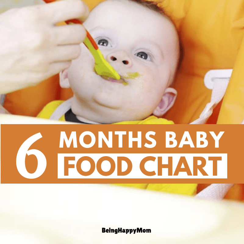 6 months baby food chart