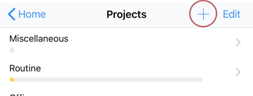 Select the plus icon in the top right to create a new project.
