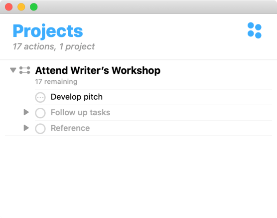 OmniFocus Project - Attend Writer's Workshop