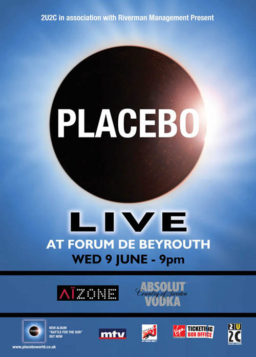 Placebo live in Concert This Wednesday June 9 at Forum De Beyrouth