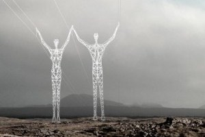 High voltage power towers that look like men