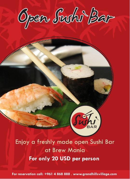 Enjoy a freshly made open Sushi Bar