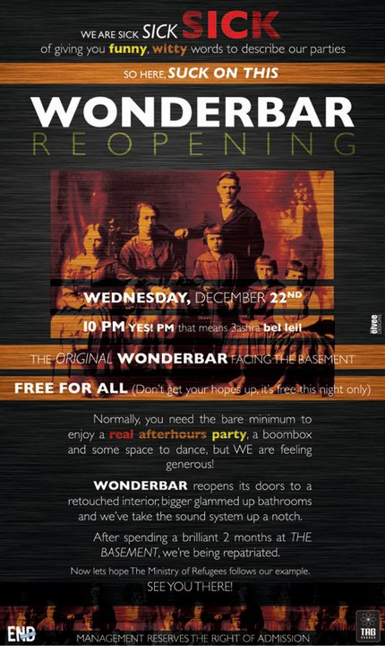 Reopening Of WonderBar