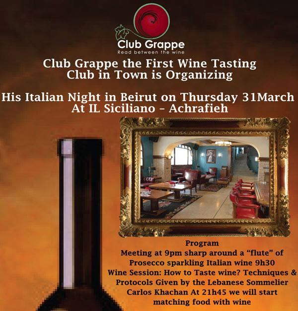 Club Grappe Is Organizing His Italian Night
