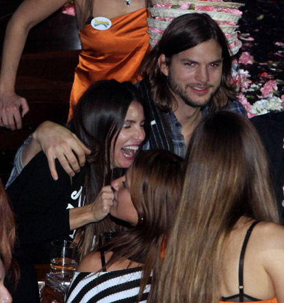 Ashton Kutcher Parties with Demi Look-Alike in Athens