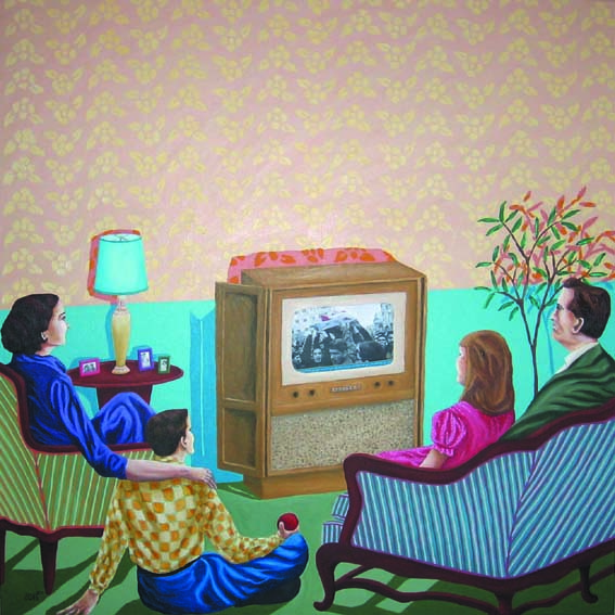 Rim El Jundi, TV time, 2011, acrylic on canvas, 100 x 100 cm, Galerie Janine Rubeiz