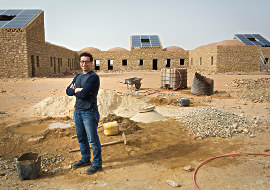 """For Ahmed Zahran, the future of economic growth is """"off the grid"""" in the swaths of the Middle East not served by national electricity networks. In 2011 he cofounded KarmSolar, which is building one of the world's largest solar-powered water pumps and aims to bring renewable energy to desert farming and tourism across the Sinai Peninsula."""