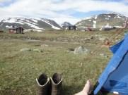 Utsikt från tältplatsen vid Sälkastugorna