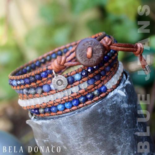 Wikkelarmband Blue Jeans B4 – Lapis Lazuli – Sodaliet – witte Jade – old schoolleer