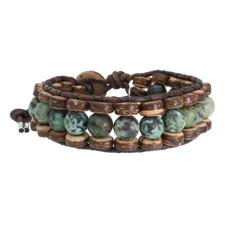 Armband Bohemian green B8 Groen Afrikaanse Turquoise Kokos leer-4