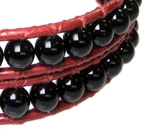 Wikkelarmband Classic B6 – Onyx – rood leer – 50% Korting