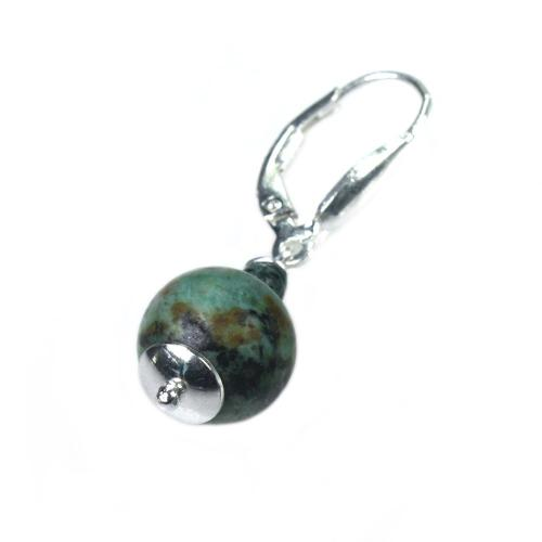 Oorbellen Bohemian – Afrikaanse Turquoise – Sterling Silver