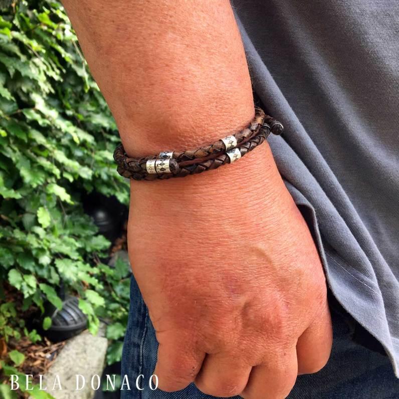Heren armband vintage gevlochten leer en sterling zilver