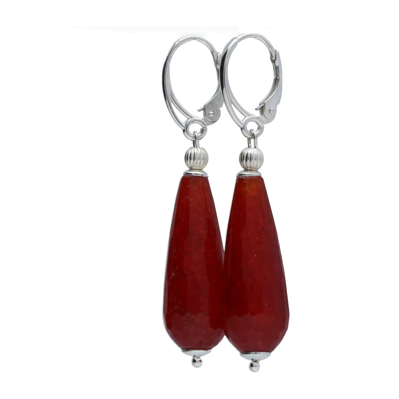 Oorbellen Art Deco Rode facet Jade Sterling Zilver-2