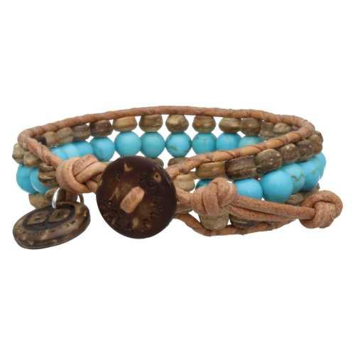 Armband Bohemian blue B6 – Blauw – Turquoise – Kokos – leer