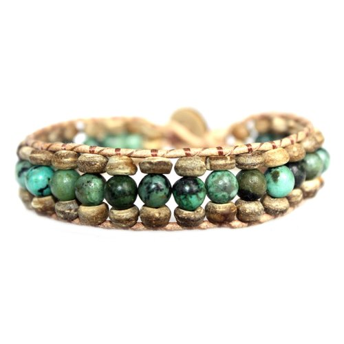 Armband Bohemian green B6 – Groen – Afrikaanse Turquoise – Kokos – leer