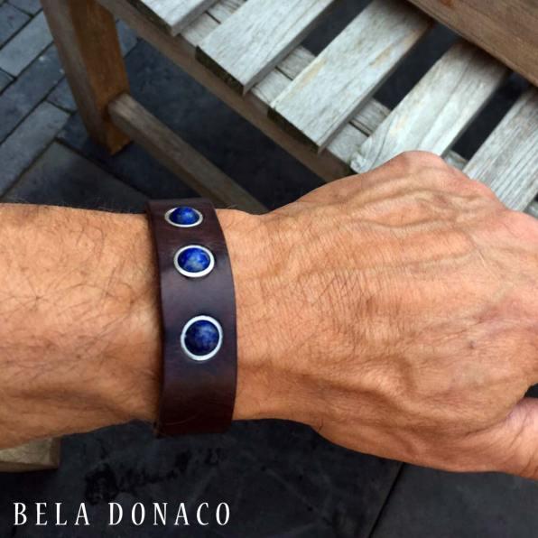 Heren armband met leder en Lapis Lazuli