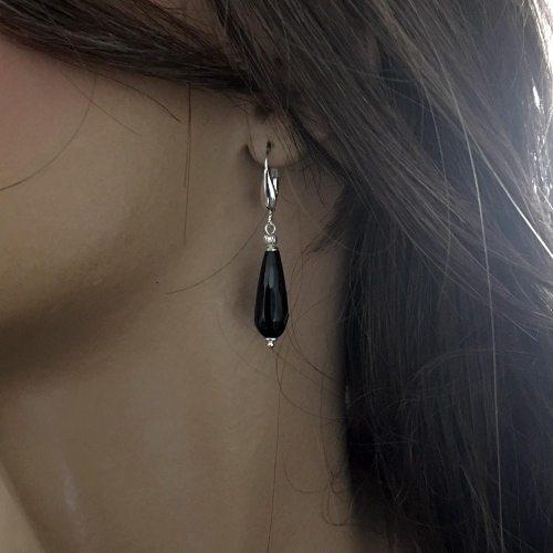 Oorbellen Art Deco – Zwarte facet Agaat – Sterling Zilver