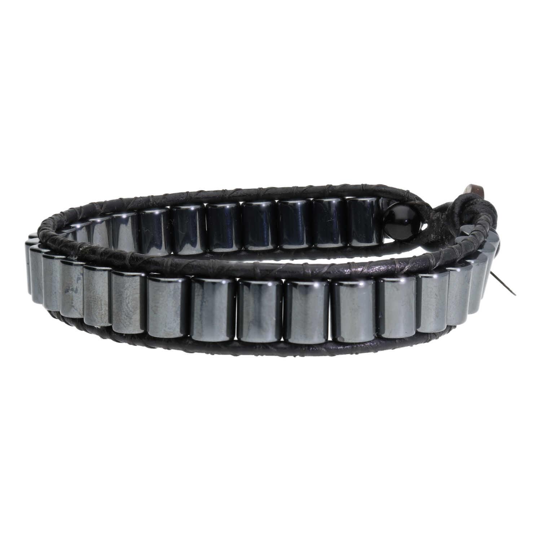 Armband Classic B6 Grijs Hematiet Leer-3