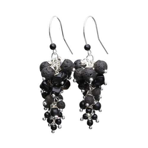Oorbellen Wrap Wire – zwarte Lavasteen – Onyx – Obsidiaan