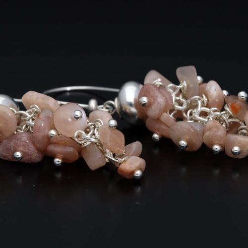 Oorbellen Wrap Wire Cluster- Roze Zonnesteen – Sterling Zilver