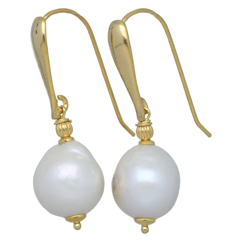 Oorbellen Elegance Witte Parels Sterling Zilver verguld-1
