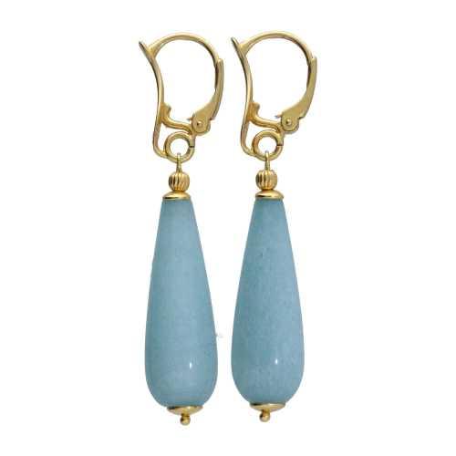 Oorbellen Art Deco – Blauwe Jade – Sterling Zilver verguld