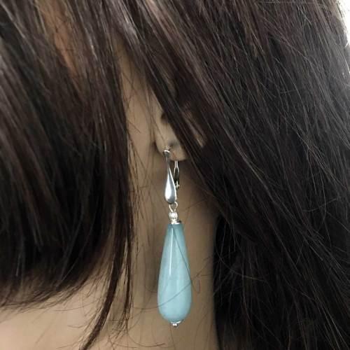 Oorbellen Art Deco – Blauwe Jade – Sterling Zilver