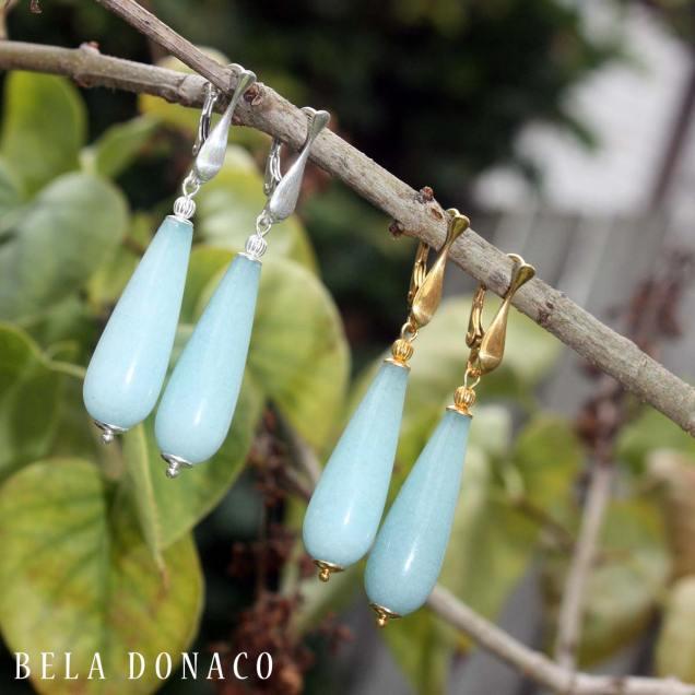 Oorbellen blauwe jade