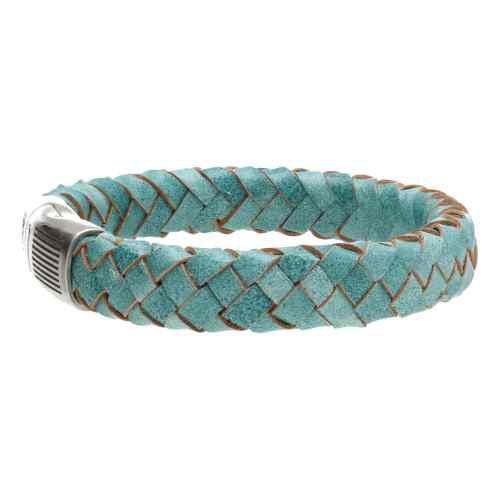 Armband Business line W12 – RVS – Gevlochten vintage turquoise leder