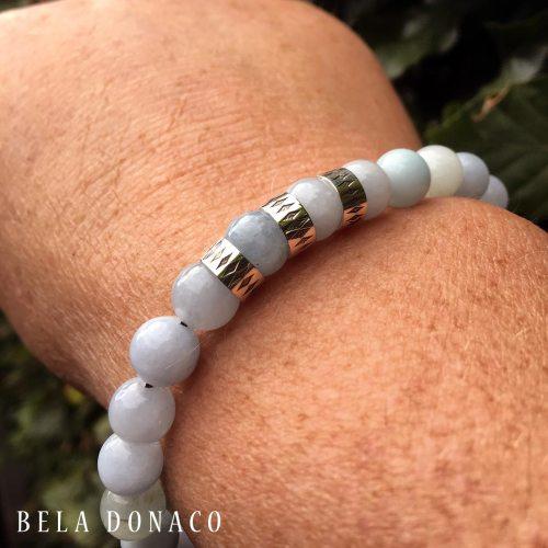 Armband Luxury B8 – Aquamarijn – Geoxideerd Sterling Zilver